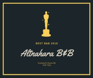 Altnaharra B&B Award for top 10 on NC500